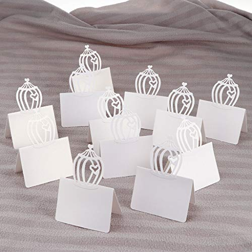 (BROSCO 12Pcs Blank Wedding Table Place Setting Name Cards for Birthday Anniversary | Color - Hollow Heart Cage )
