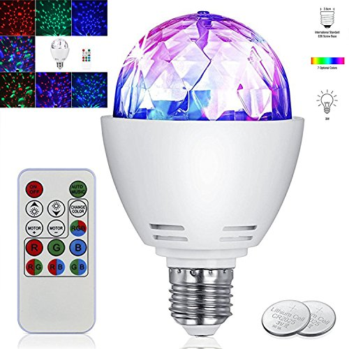 Disco Light Bulb,UPBASICN 3W E27 Disco Lamp LED RGB 7 Color Party Bulb Stage Light -Rotating Sound Activated Strobe Light with Remote Control for Parties,Birthday, Bar Karaoke Club