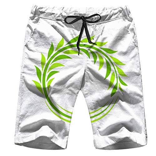 Isolated Round Shape Green Color Nature Logo Mens Boardshorts Swim Trunks Quick-Drying Running Shorts M
