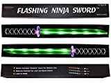 GlitZGlam Ninja Sword Toy Light-Up (LED) 2 PACK Green! Deluxe with Motion Activated Clanging Sounds