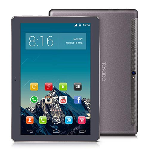 TOSCIDO 4G LTE Tablet 10 Zoll – Android 10.0 ,4GB RAM,64GB ROM,Octa Core ,Dual SIM,WiFi,Dual Stereo Lautsprecher – Grau