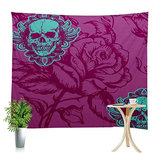 Wall Hanging Tapestry Purple Rose Background Green Flower