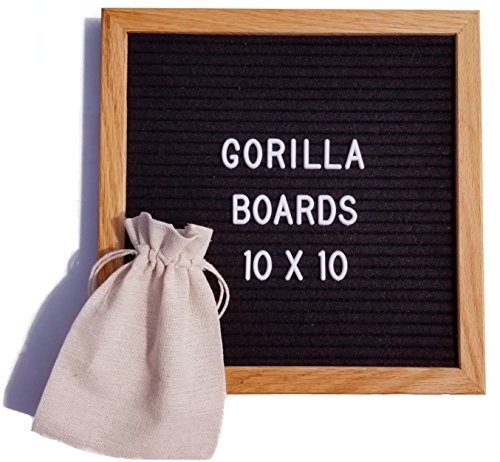 Letter Board | Vintage Finish Oak Wood 10 x 10 Inch Black Felt Changeable Letter Board w/ 290 Letter Set and Free Bag by Gorilla Boards - Oak Finish Farmhouse