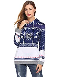 Women Christmas Reindeer Snowflake Print Long Sleeve Sweatshirt Pullover Hoodies