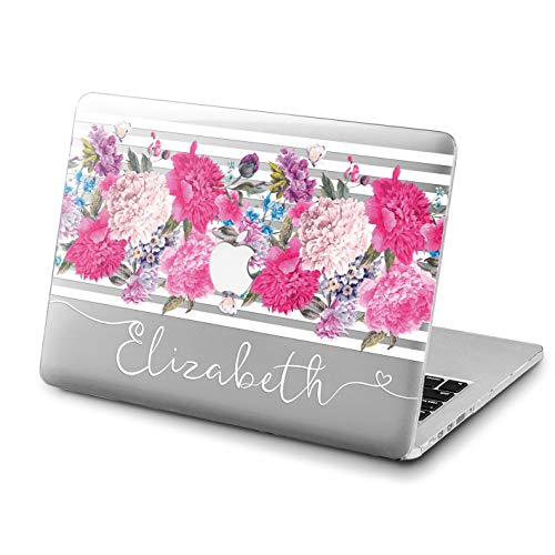 Lex Altern Custom Case Name MacBook Air 13 inch 2018 Mac 15 Hard 2017 Air 11 Apple Retina 12 Pink Flowers Clear Handwritten Cover Plastic Laptop Personalized Floral Protective 2016 Print Girl Striped