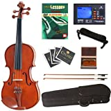 Cecilio CVN-200 Solid Wood Violin with Tuner and Lesson Book, Size 1/4