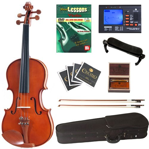 Cecilio CVN-200 Solid Wood Violin with Tuner and Lesson Book, Size 1/4 by Cecilio