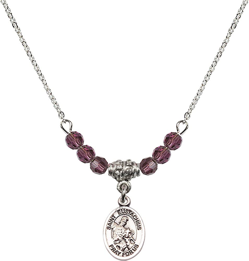 18-Inch Rhodium Plated Necklace with 4mm Amethyst Birthstone Beads and Sterling Silver Saint Eustachius Charm.