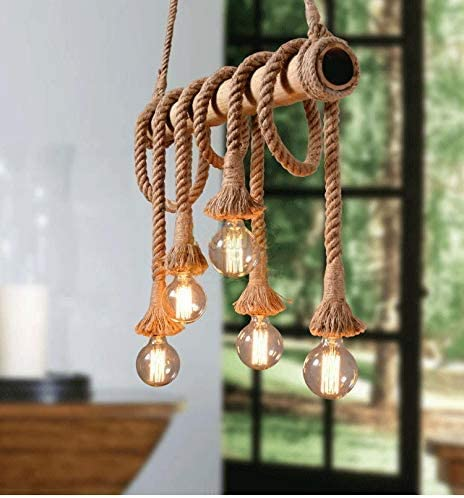 Arturesthome 6 Heads Hemp Rope Pendant Light