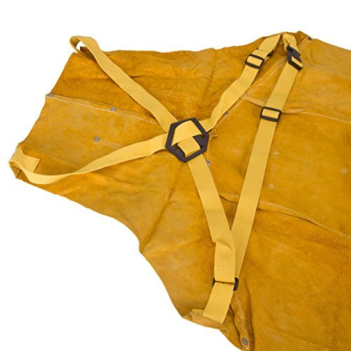 7 splicings with 1 pocket Holulo Welding Bib Apron Cowhide Split Leather Safety Apparel Flame Resistant Apron With Pocket Yellow larger size