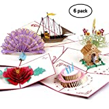 Pop Up Cards Assortment |3D Greeting Cards for All Occasions | Peacock, Boat, Flowers Greeting Cards | Thank You Teacher Cards Envelope Included | Birthday Gifts for Sister, Mom, Wife, Kids