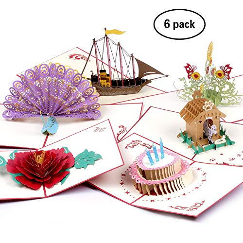 - 3D Pop Up Birthday Greeting Cards 6 Pack With Envelopes Boat