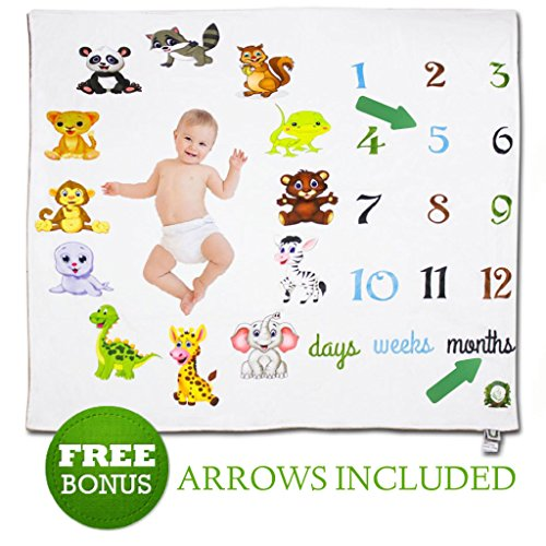 Spunky Sprouts Premium Soft Milestone Baby Newborn Growth Blanket-Large 47