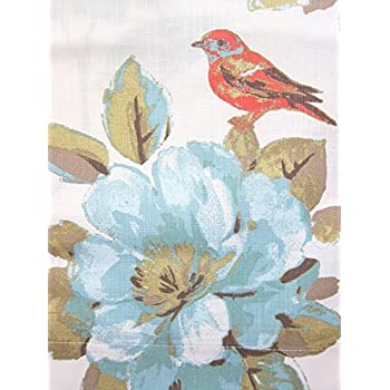 Amazon Com Envogue Window Curtains Birds Large Flowers 50