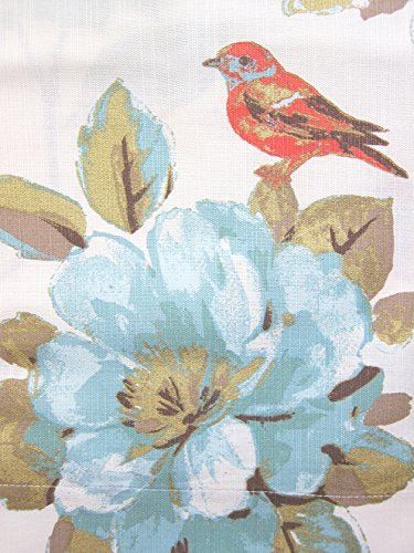 Envogue Window Curtains Birds Large Flowers 50-by-96-inches 100% Cotton Set...