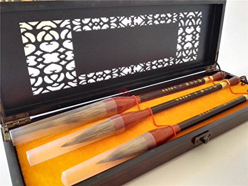 3pcs Top Pure Water Badger Hair Chinese Calligraphy Writing Brush Hollow of Box by BAIDEXUAN BRUSH