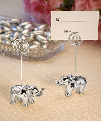 FASHIONCRAFT Silver Finish Elephant Place Card Holders, 50