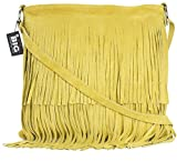 LIATALIA Womens Suede Leather Tassle Fringe Shoulder Bag (Large Size) - ASHLEY [Mustard]