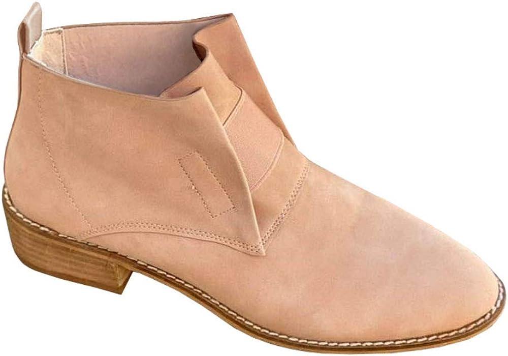 LAICIGO Women's Ankle Booties Low Stacked Heel Elastic Almond Toe Slip-on Snakeskin Western Boots