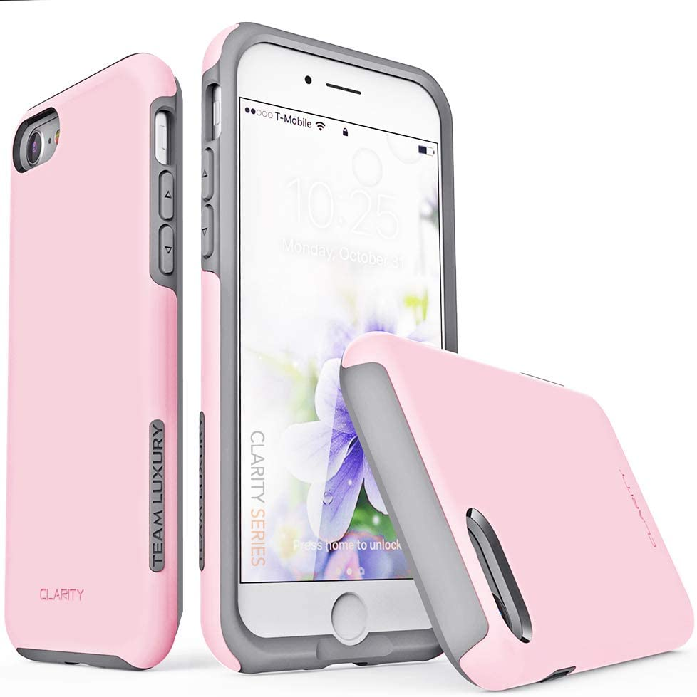 TEAM LUXURY iPhone SE 2020 Case & iPhone 7 Case & iPhone 8 Case, [Clarity Series] Shockproof, Anti-Drop Protection, Phone Case for Apple iPhone 7/8/SE 2nd Generation for Women & Men (Pastel Pink/Gray)