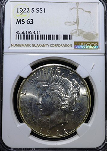 1922 S Peace Dollar $1 MS 63 - Dollar Coin Peace 1922
