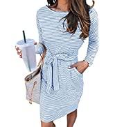 MEROKEETY Women's 2021 Fall Striped Long Sleeve T Shirt Dress Casual Tie Waist Crew Neck