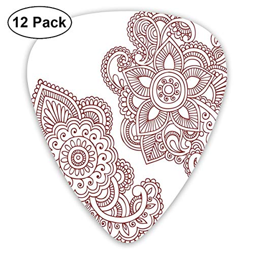 Guitar Picks - Abstract Art Colorful Designs,Intricate Ornate Doodle Style Motifs Antique Ancient Cultures Mehendi Inspiration,Unique Guitar Gift,For Bass Electric & Acoustic Guitars-12 Pack