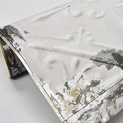 Brewster Home Fashions NuWallpaper Vintage Tin Tile Peel & Stick Wallpaper White & Off-White