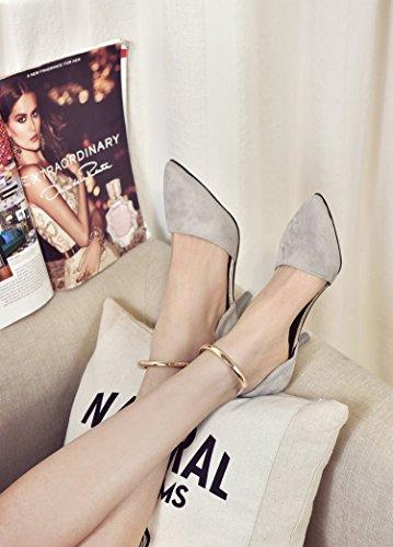 avec Pointe Yalanshop gris Chaussures Sandales Rivet Sangle femme 39 supérieure fente partie la avec fine à 775fqr
