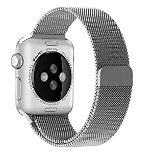 Evershop Stainless Steel Magnetic Closure Clasp Bracelet Metal Smart Watch Band Strap for Apple Watch iwatch, Wrist Band for Apple Watch & Sport & Edition 42mm (Milanese Silver)