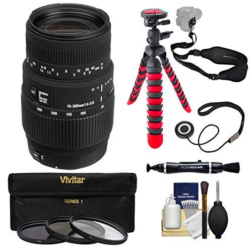 Sigma 70-300mm f/4-5.6 DG Motorized Macro Zoom Lens with Tripod + Filter + Strap + Kit for Nikon Digital SLR Cameras