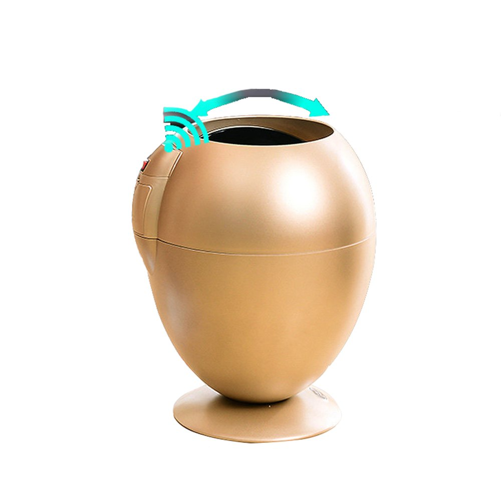 LUOER Automatic Touchless Motion Sensor Egg-Shaped Trash Can, For Kitchen Bedroom Outdoor 6L,Gold