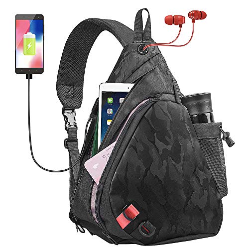 Tinbrot Sling Bag  One Strap Backpack Crossbody Bag with USB Port for Men & Women