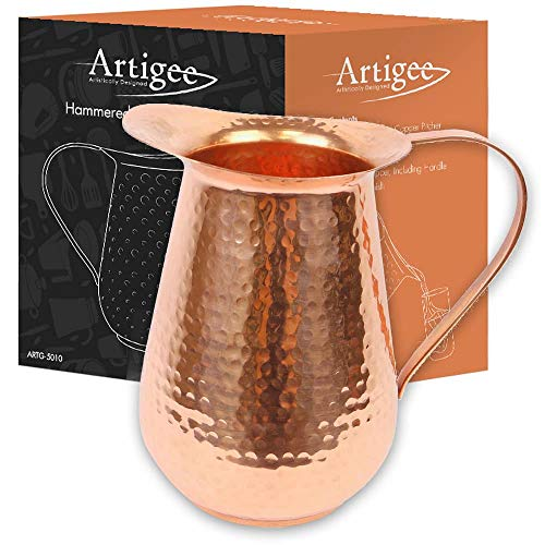 Artigee Copper Pitcher, Food Grade Premium Copper - Handcrafted With Natural Polished Hammered Finish - For Water, Cocktails, Cold Drinks an Entertainers Dream - Finish Polished Natural