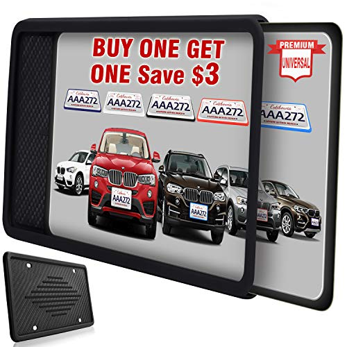 Intermerge License Plate Frame, Universal American Auto License Plate Holder, Rust-Proof Rattle-Proof Weather-Proof with 3 Drainage Holes Black Silicone License Plate Frame Cover (Black-1Pack) (License Plate Frame Front)