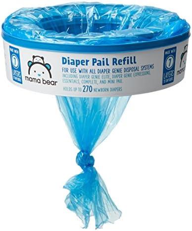 51LSA9CiatL. AC - Amazon Brand - Mama Bear Diaper Pail Refills For Diaper Genie Pails, 1 Count (Pack Of 8)