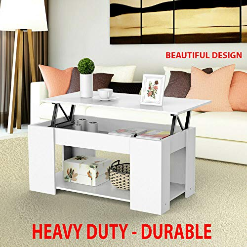 (Heavy Duty - Lift Top Coffee Table W/Hidden Compartment and Storage Shelves Pop-up Storage Cocktail Table for Parlors, Drawing Room, Living Room, Kitchen, Anteroom and Office)