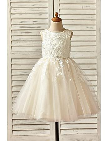 bf31f87990 Xuanku A-Line Knee Length Flower Girl Dress - Lace Tulle Sleeveless Scoop  Neck with