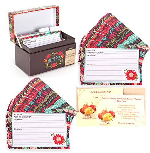 Set of My Family Happy Day Recipe Box, 8 Dividers & 80 Recipe Cards-Brown Floral Design Plus 2 RECIPES Included that will fit right in the recipe box here
