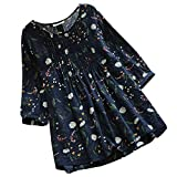 Ashir Aley 3/4 Sleeve Cute Lovely Pleated Floral Pattered Casual Loosen Tunic Tops Blouse(XL,Navy Blue)