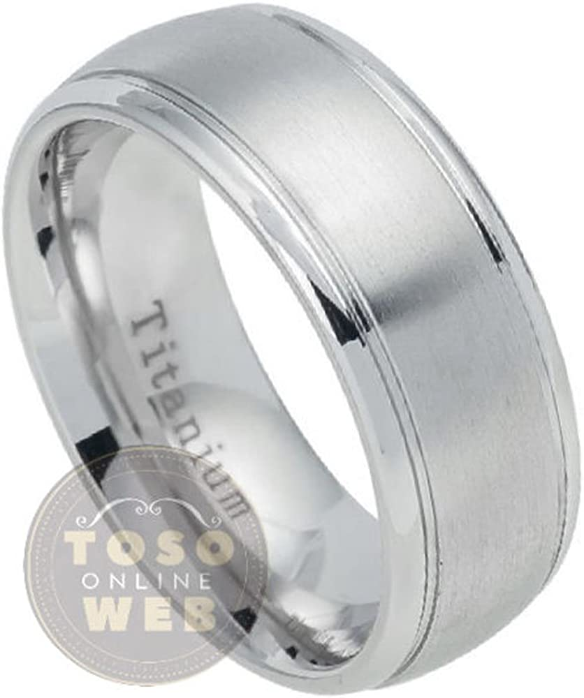Comfort Fit Anniversary Ring Ti5372 FREE ENGRAVING Mens 7mm High Polished Classic Dome Titanium Wedding Band