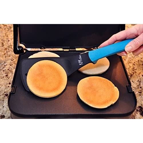 5-Piece Baking Set | 2 Egg Rings, 1 Spatula, 1 Turner & 1 Whisk | Free Pancake Recipes eBook | Perfect for Cooking Pancakes, Eggs & More | KPKitchen Blue Bakeware Kitchen Utensils Essentials