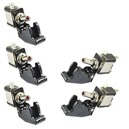 E Support Car Carbon Fiber Cover Red LED Toggle Switch Pack of 5