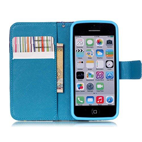iPhone 5C Coque , Apple iPhone 5C Coque Lifetrut® [ Purple Dream Catcher ] [Wallet Fonction] [stand Feature] Magnetic snap Wallet Wallet Prime Flip Coque Etui pour Apple iPhone 5C