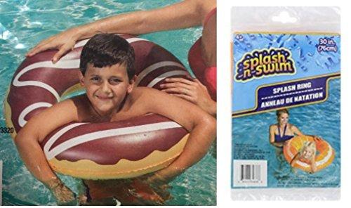 Kids Spring Summer SET OF 2 Fun Backyard Float Outdoor Playtime Pool Lake Beach Swim Rings, 30 in. DONUT Float Chocolate (Orange Donut)
