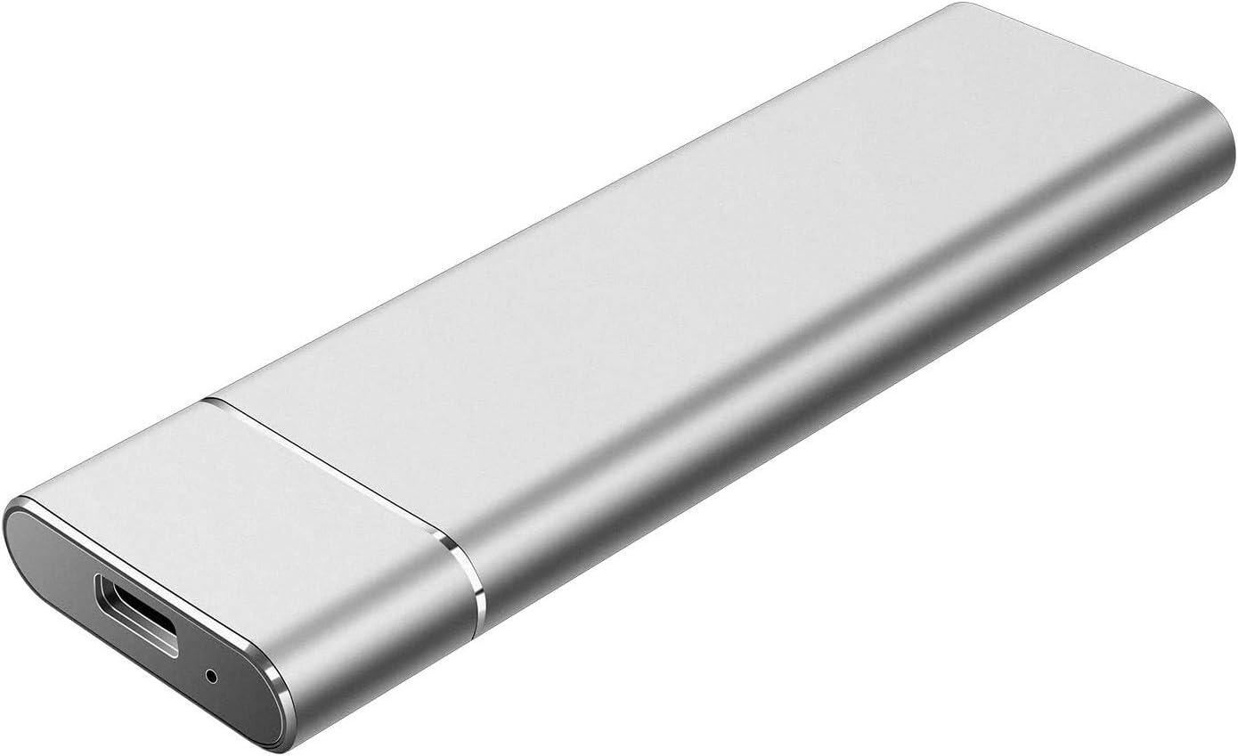 Disco duro externo de 2 TB, portátil para PC, portátil y Mac (2TB, plateado)