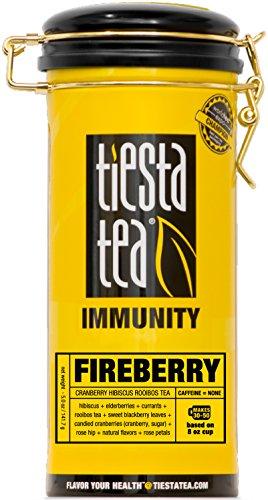 Tiesta Tea Immunity, Fireberry, Cranberry Hibiscus Rooibos Tea, Loose Leaf Tea Blend, Caffeine Free, 5 Ounce Tin