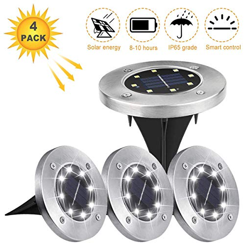 Pangaea Holder - Solar Ground Lights,Solar Powered Disk Lights Waterproof Garden Pathway Outdoor In-Ground Lights for Yard,Deck,Lawn,Patio and Walkway,White (4 Pack) (White)