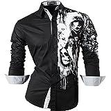 Sportrendy Men's Slim Long Sleeves Button Down Dress Shirt JZS047 Black S