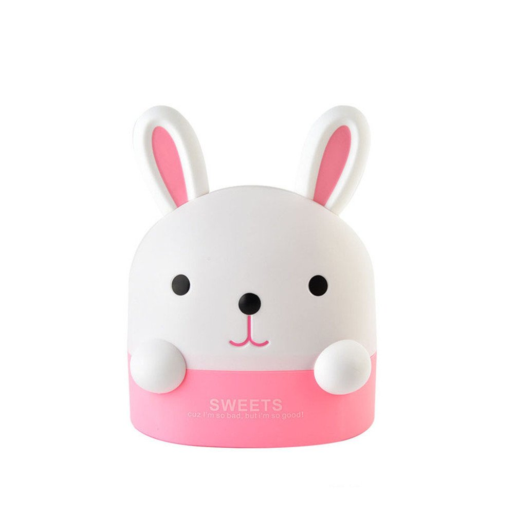 Katoot@ Lovely Bunny Roll Paper Holder Rabbit Storage Box Home Office Desktop Plastic Tissue Canister Container Paper Organizer (Pink)